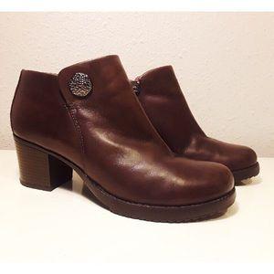 Dansko Leather Amelia Ankle Block Heel Boots 40